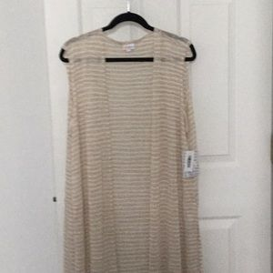 NEW- LuLaroe Joy- beige & white knit. Size-XL